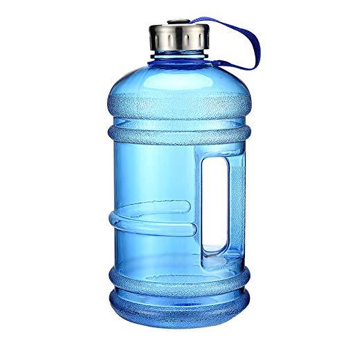 ZJY 2.2L Gran Capacidad Gimnasio Deporte Botella de Agua Fitness Mancuerna Entrada de Agua Grande Mango Antideslizante Material ecológico Deportes al Aire Libre Oficina y Escuela,Blue