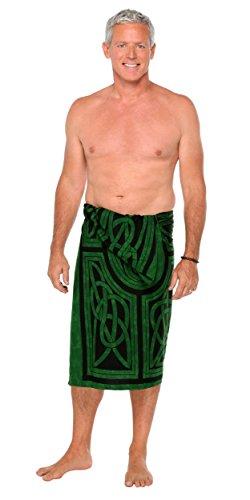 1 World Sarongs Mens Celtic Circles Sarong in Emerald Green Fringed