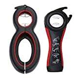 Bottle Can and Jar Grip Opener, Bottle Openers Multi Kitchen Tools Set, Twist Off Lid–Jar Opener Tool, Suitable for Children, Elderly and Rheumatoid Arthritis Sufferers (Black-Red)