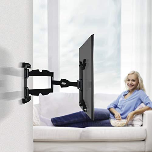 Hama TV Wandhalterung Schwenkbar/Neigbar (Wandhalter Fernseher für 32-65 Zoll, Vollbewegliche Halterung, Langer Arm, VESA bis 400x400, max. 25kg, inkl. Fischer-Dübel) Schwarz