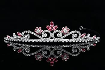Princess Rhinestones Crystal Flower Bridal Wedding Prom Tiara Crown Pink Crystal Flower Silver Plated