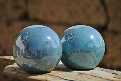 Kunert-Keramik Kugel,Rosenkugel,Gartenkugel,in tollem jadegrün,frostfest;2er Set;(12cm)