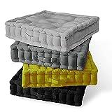 HZ Enterprises - Cojín de relleno de algodón 100% acolchado grueso para adultos, silla, sillón, mascotas, jardín, 45 cm x 45 cm + 10 cm de grosor aproximado (negro)
