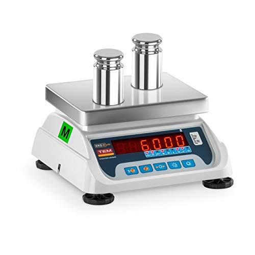 TEM Balanza Comercial TEKO+LED06T-PLS-B1 (calibrada, 3 kg/6 kg, 1g/2 g, Pantalla LED, Batería 40 h, Diversas Funciones)