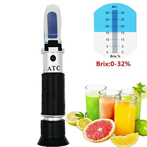 XFY Refractometer, refractometer 0-32% Brix, met automatische temperatuurcompensatie, gereedschap voor het meten van sap en zoete dranken.
