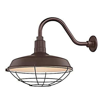 "Bronze Farmhouse Style Industrial Gooseneck Outdoor Barn Light with 16"" Caged Shade for Wet and Damp Locations"