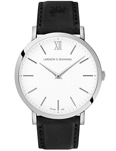 Larsson & Jennings LJXII Lugano Unisex Herren & Damen Uhren with 40mm Satin White dial and Black Leather Strap LX40-LBK-SW.