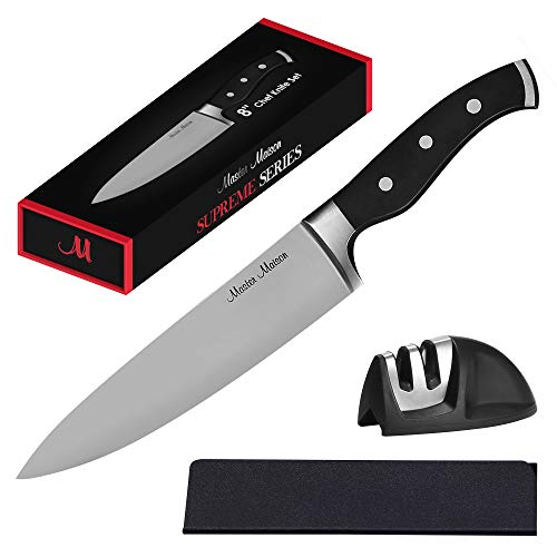 8quot Professional Chef Knife Set | Master Maison Premium German Stainless Steel Chef#039s Knife Kitchen Set With Dual Sharpener amp Edge Guard Cover | AntiFatigue Ergonomic FullTang TripleRiveted Handle