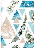 Ladytimer Mini Feathers - Taschenkalender A7 - Kalender 2021 - Alpha Edition-Verlag - Eine Woche auf 2 Seiten - Buchplaner mit Lesebändchen und Platz für Notizen - Format 8 cm x 11,5 cm