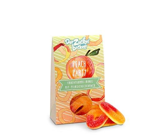 Peach Party, Fruchtgummi Ringe mit Pfirsichgeschmack, 58 Gramm Naschportion, süßes Mitbringsel auf jeder Sommerparty