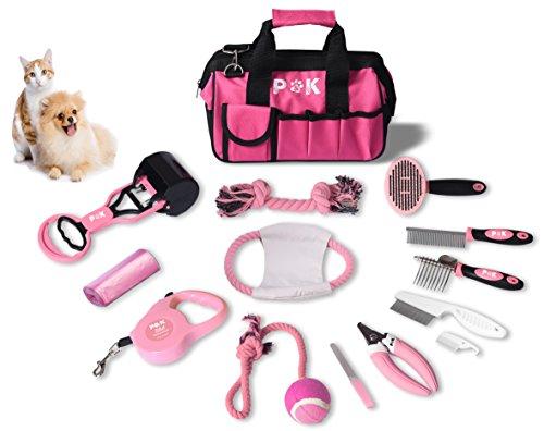 P & K 15 teiliges Hundepflegeset Tierpflegeset Fellpflege Krallenpflege Hundespielzeug Geschenkideen
