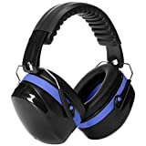 AmazonBasics Noise Reduction Safety Earmuffs Ear Protection, Black and Blue