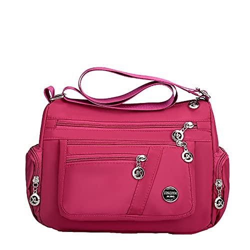 NAQUSHA Damhandväska, stor axelväska dam, avslappnad handväska med många fack, utomhus resa axelväska elegant handväska, B-rosa, En Storlek