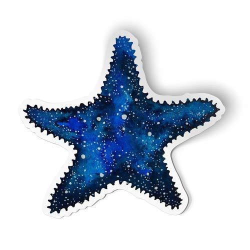 Squiddy Starfish - Artistic Blue Sealife Ocean Beach Theme - Vinyl Sticker Decal for Phone, Laptop, Water Bottle (2.5' Wide)