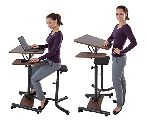 Teeter Sit-Stand Desk - Adjustable Height Ergonomic Workstation with Stool, Side Table, and Foot Platform. (Cherry Finish)