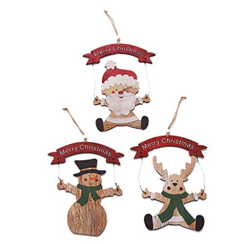 4 PCS Hanging Wood Santa Claus Ornaments,Christmas Tree Decoration,Pendant Wooden Small Hanging Ornament (Multicolor)