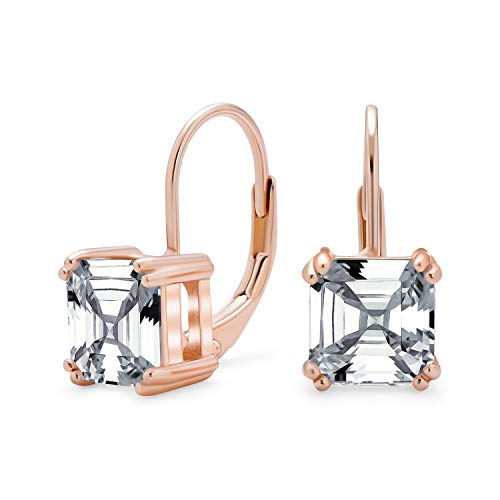 4CT Cubic Zirconia CZ Brilliant Asscher Cut Solitaire Drop Leverback Earrings For Women Rose Gold Plate Sterling Silver