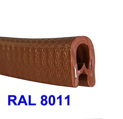 Protector universal 3m puerta coche forma U, protección canto chapa, madera, vidrio, carrocería, cables eléctricos, cuerpo metálico para mayor sujeción, rango espesor 1-4 mm, MARRÓN OSCURO