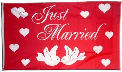 Fahne / Flagge Just Married + gratis Sticker, Flaggenfritze®
