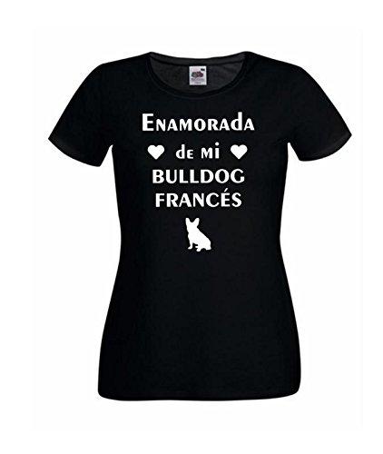 Camisetas divertidas Child Enamorada de mi Bulldog Frances - para Mujer Camisetas Talla Small Color Negro