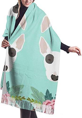 Bull Terrier Flores florales Manta de mujer Bufanda de invierno Abrigo cálido Chal de gran tamaño Capa 77x27 pulgadas
