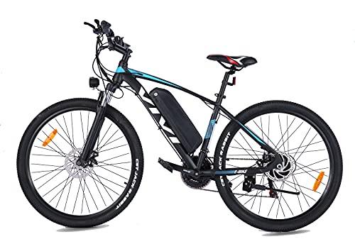 VIVI E-Bike 27.5 Zoll E Mountainbike Fahrräder mit 350W Motor | 21 Speed Elektrofahrrad | Doppelscheibenbremsen| Herausnehmbarer 10.4Ah Akku Ebike Trekkingrad Herren Damen (Blau)