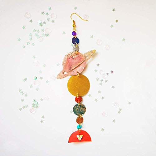 Ohrringe des Sonnensystems - Planetentropfenohrringe - Trendschmuck - Saturnschmuck - Rockabilly-Schmuck - Neuheitsohrringe - Geschenk für sie