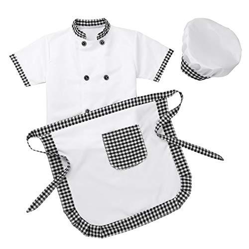 MSemis Unisex Disfraz de Cocinero para Nios Nias Cosplay Chef Traje de Pastelero Panadero 3Pcs Fiestas Desfile 4-12 Aos Gris 4-5 Aos
