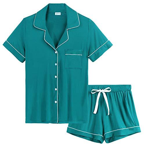 Joyaria Damen Pyjama Kurz Weich Schlafanzug mit Knopfleiste Kurzarm Zweiteiliger Hausanzug Baumwolle(Blaugrün,Größe S)