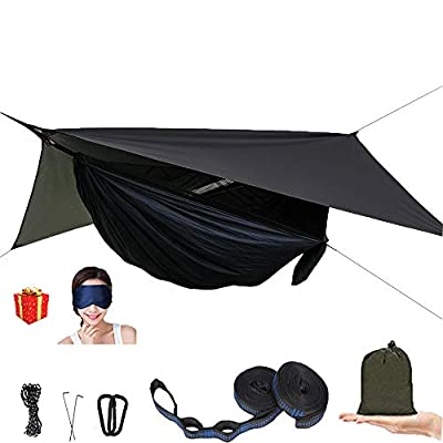 AEETT Camping Hammock with Mosquito Net and Rain Fly - Travel Hammock Bug Net - Hammock Tent for Outdoor Hiking Backpacking Travel Camping Accessories and Camping Gear (Black)