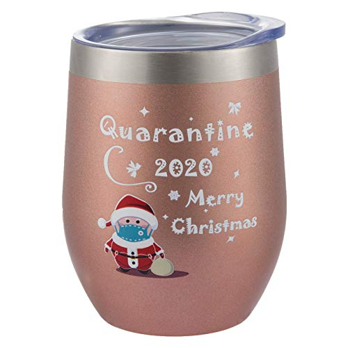 Quarantine 2020 Merry Christmas Tumbler Mug- 12 Oz Stainless Steel Vacuum Insulated Wine Tumbler Rose Gold Social Distance Christmas Personalized Funny Mug for Girl Woman Lady
