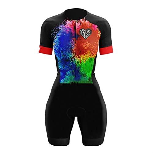 Triathlon Damen Radfahren Jersey Sweatshirt Anzug Kleidung Sommer Kurzarm Radfahren Sweatshirt (Color : 2, Size : 5XL)