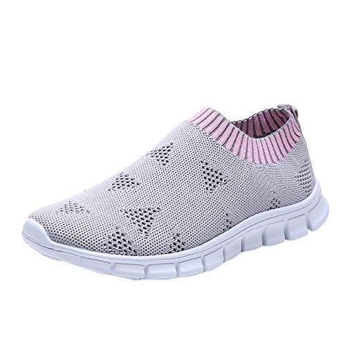 Zapatillas de deporte para mujer, antideslizantes, transpirables, de malla, con zapatillas de deporte, para correr, caminar, caminar, caminar, fitness, perezosos, gris, 38 EU