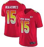Hommes Football Jersey Mahomes # 15 Vêtements de Rugby Chièfš - Fan de Rugby pour Hommes T-Shirts Top Shacksuit en Plein air à Manches Courtes 3-XXL