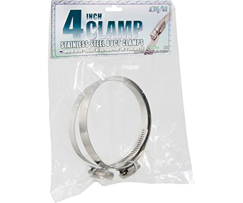 Hydrofarm ACC4 Active Air Stainless Steel, 4' (Pack of 2) Duct Clamps, 4 inch