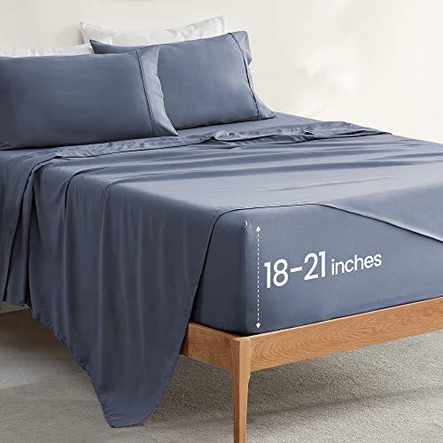 SLEEP ZONE 4-teiliges extra tiefes Taschenlaken-Set, luxuriöses, weiches & dehnbares Doppelbett, gebürstetes Mikrofaser-Spannbetttuch, leicht zu pflegenes Tagesdecken-Set (Feuersteinblau, King-Size)