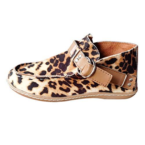 Damen Kurze Stiefel, Frauen Mode Flat Leopard Casual Schnallenriemen Flock Round Toe Boots Schuhe LäSsige Retro Boot Kurzer Boot Schuhe