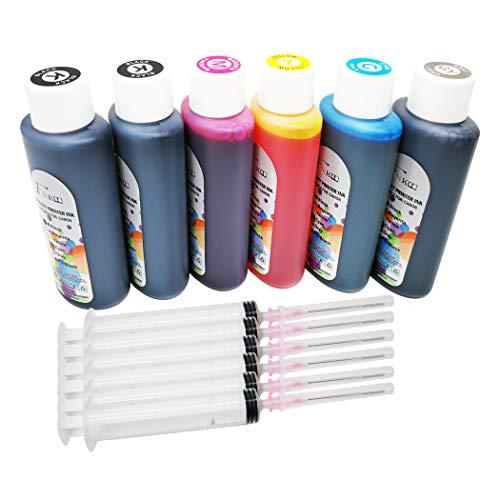 FINK 6 cartuchos de tinta para botella de 100 ml y recambios de tinta PGI-570 CLI-571 compatibles con PIXMA MG7750 MG7751 MG7752 MG7753 TS9050 TS9055 TS8050 TS8051 TS8052 TS8053