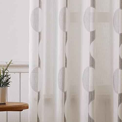Viste tu hogar Pack 2 Cortina Decorativa Opaca con Ojales, Estilo Simple y Elegante, para Salón, Habitación y Dormitorio, 2 Piezas, 145X260 CM, Estampado con Color Café Claro