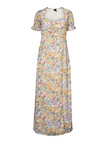 Vero Moda VMEVANGALINE S/S Maxi Dress KAA HT Vestido, Abedul/AOP: Emilia, L para Mujer