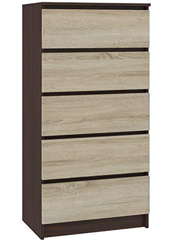 Hucoco SKANDI | Commode contemporaine Chambre + Salon + Bureau 121x60x40 cm | 5 tiroirs | Design Moderne | Chiffonier Semainier | Wenge/Sonoma