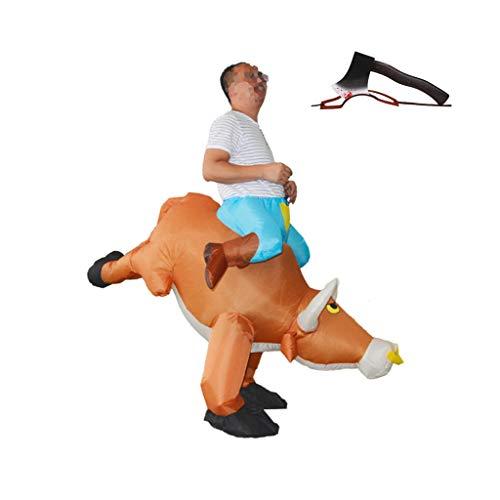 MISLD Disfraz Inflable De Corrida De Toros para Adultos Y Conjunto De Casco con Hacha, Interfaz USB Y Tela De Polister Impermeable, Adecuado para Halloween Cosplay Carnaval