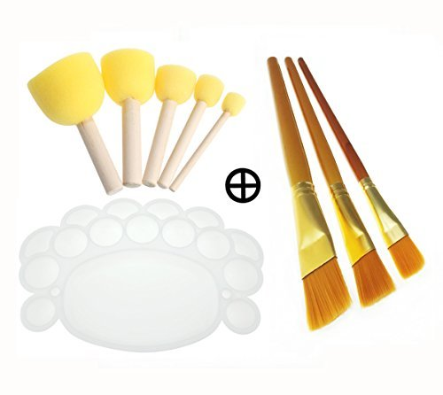 Kids Foam Sponge Wood Handle Paint Brush & Pointed Tip Nylon Hair artist acrylic brush & white Plastic palette tray complete Paint Tools for Watercolor Oil Painting,Acrylics,Stains,Varnishes,Crafts
