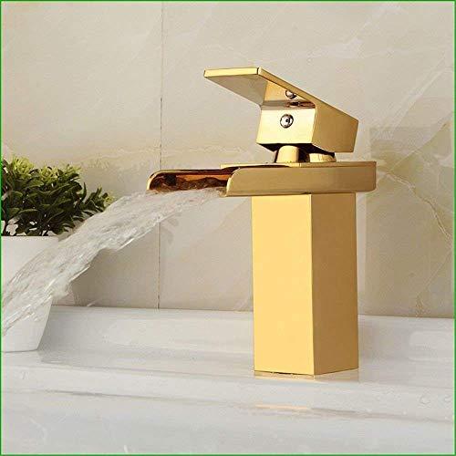 KEKEYANG Grifo mezclador monomando de cocina para baño, de cobre y dorado, diseño de cascada de agua, para lavabo, de color dorado