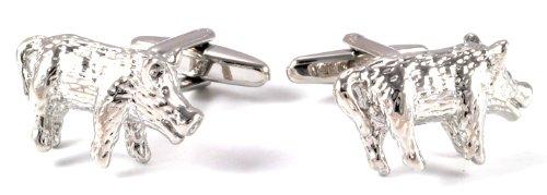 Gemelolandia Boutons de manchette en forme de Sanglier-acier | Pour hommes et garçons | Cadeaux pour mariages, communions, baptêmes et autres événemen