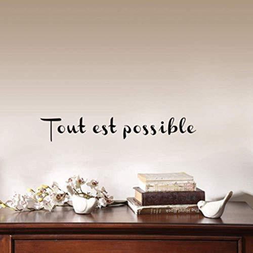 Adesivo Da Parete Adesivo Rimovibile Decorazione Per La Casa Tout Est Possibile Motivazionale Francese Ispiratore Per La Decorazione Domestica 7X42Cm