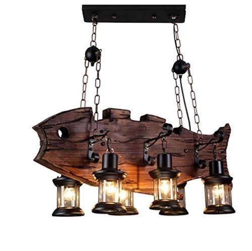 Araña de luces Colgante Retro Industrial Creativo Estilo de madera Forma de pez Candelabro Bar Lámpara colgante Sala de estar Comedor Restaurante Estudio Lámparas decorativas Pantalla de cristal