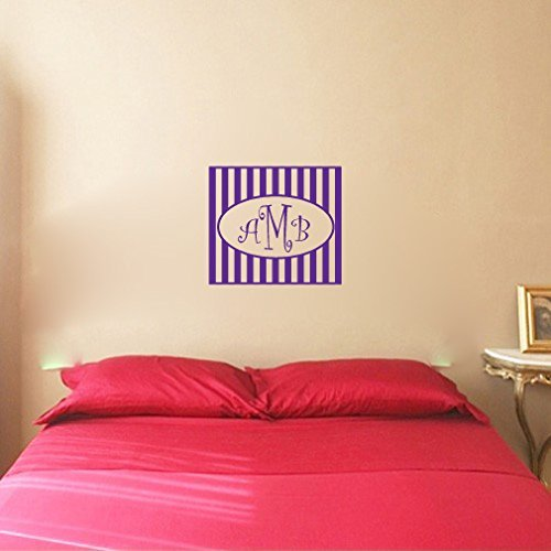 Amazon Com Striped Frame With Personalized Monogram Custom Initials Vinyl Wall Words Decal Sticker Graphic Handmade