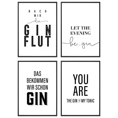 Heimlich ® Premium Poster Set | Stilvolles Set mit passenden Bilder in Schwarz-Weiß | 4 Stück in DIN A4 (21x30cm) | Mit Bilderrahmen Holz Schwarz » Gin Lover «