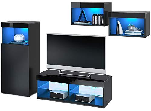 Vladon Wohnwand Pure, modernes Wohnzimmer Möbel Set, Korpus in Schwarz matt/Oberböden und Blenden in Schwarz Hochglanz, mit RGB LED Beleuchtung | Große Farbauswahl